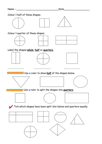 Find Half and Quarters of shapes- worksheets