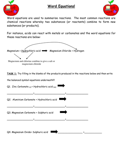Word Equations Helpsheet And Practice Questions By Miss008