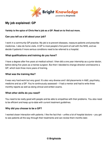 My job explained - GP by Bright_Knowledge - Teaching Resources - Tes