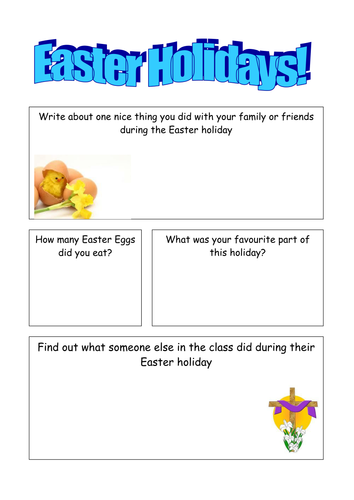 Easter Holiday Worksheet by jasminebennett - Teaching Resources - TES