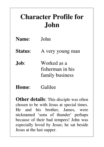 Character Profiles of Jesus' Disciples