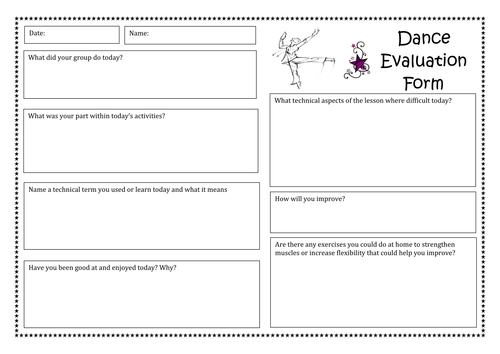 Dance and drama evaluation form BTEC