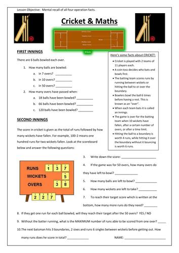 ks3 cricket maths worksheet by beachman0274 teaching resources tes. Black Bedroom Furniture Sets. Home Design Ideas