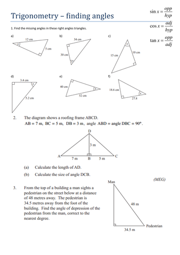 Printables Trigonometry Worksheets Pdf trigonometry finding angles worksheet by tristanjones pdf