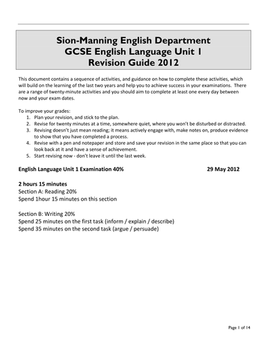 GCSE English Language Unit 1 Revision Guide
