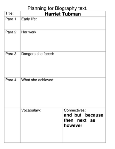 Planning sheet for writing a biography