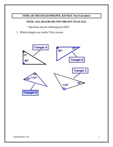 Similar Trianglesshapes Ks3ks4 Answers Nc By Hassan2008