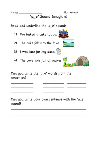Magic E A E Activity Sheet By Tracie87 Teaching Resources
