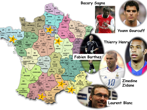 Regions of France by footballer.