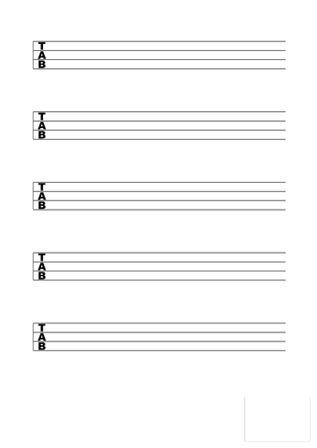 Bass Guitar Blank Tab Sheet Music By Benwhite1986 Teaching Resources