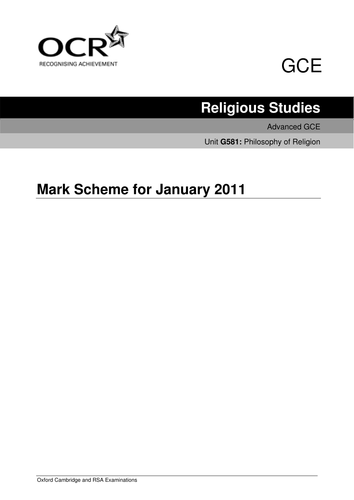 OCR Philosophy and Ethics Mark Scheme