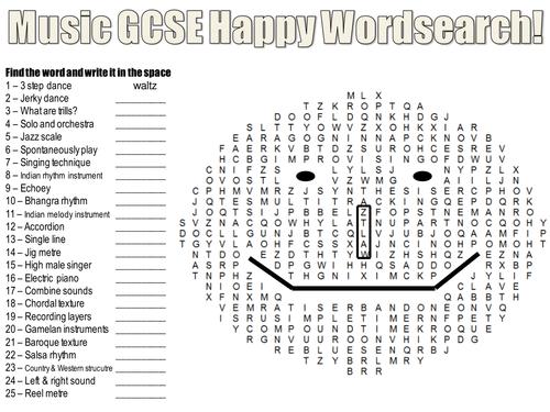 GCSE Music Keyword Happy Wordsearch