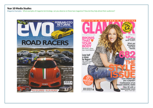 Magazine Front Cover Examples Teaching Resources