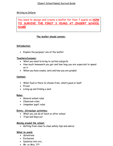 Writing to inform school survival guide by johncallaghan teaching writing to inform school survival guide by johncallaghan teaching resources tes spiritdancerdesigns Gallery