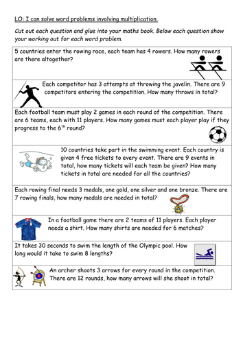 Olympic themed word problems involving x
