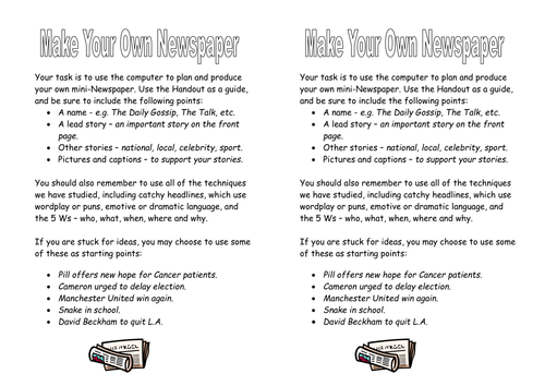 KS3 Media: Make Your Own Newspaper by johncallaghan
