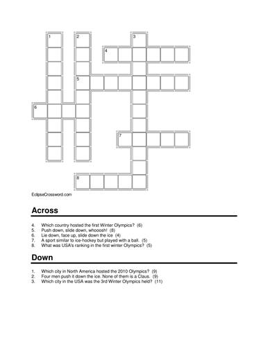A Crossword on Winter Olympics