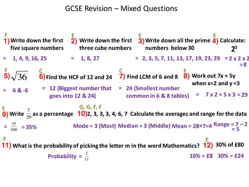 GCSE Foundation maths: Mixed Questions