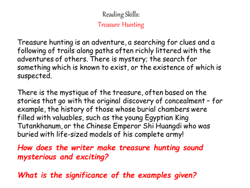 KS3 Reading Skills Treasure Hunt Prehension