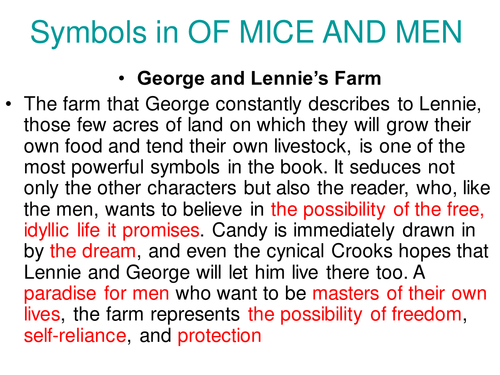 Of Mice And Men Central Symbols By Johncallaghan Teaching