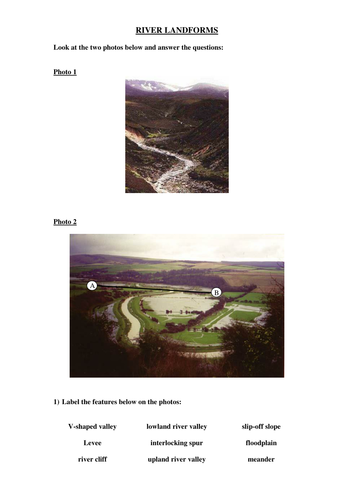 River Landform worksheet