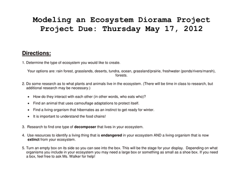 Modeling an Ecosystem - Diorama Project by caitwalker
