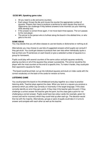 MFL Talk boardgame 5 - education & work