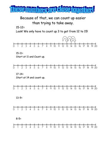 Common Worksheets take away worksheet : Counting Up for Subtraction by mrsbradley - Teaching Resources - TES