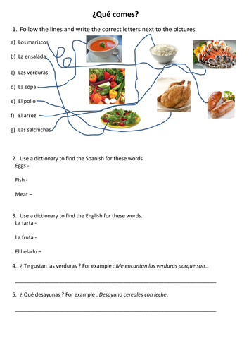 La comida - worksheet by Dannielle89 - Teaching Resources - Tes