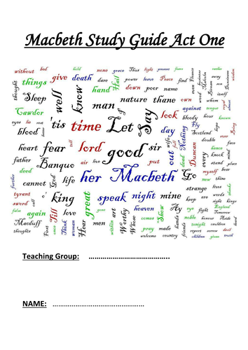 exploring the theme of ambition in macbeth by kesi teaching  macbeth printable study guide worksheets act one