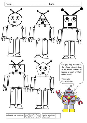 match the 2d shape descriptions to the robots by ruthbentham teaching resources. Black Bedroom Furniture Sets. Home Design Ideas