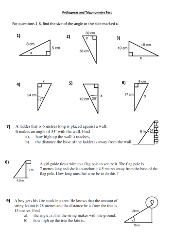 Pythagoras And Trigonometry Test By Dsc505 Teaching