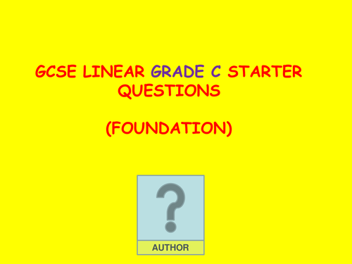 GCSE Grade C Revision Starters with answers