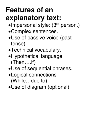 Explanitory texts