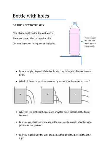 Pressure Activity - water jetting out of bottle