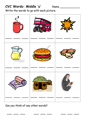 CVC Word Worksheets by ehazelden - Teaching Resources - TES