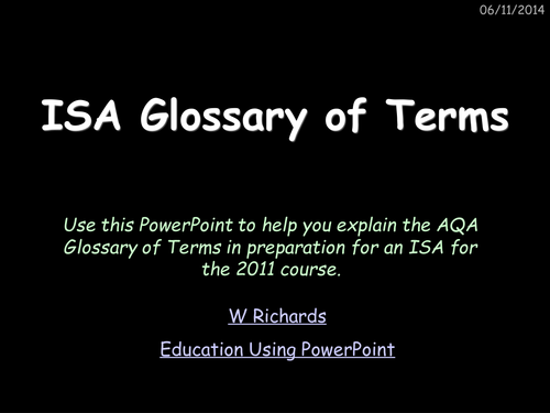 2011 AQA ISA key words and terms PowerPoint