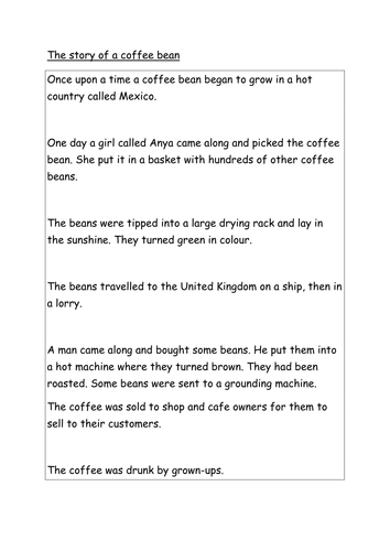 The story of coffee and fairtrade literacy tasks