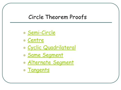 Gcse Circle Theorem Proofs Pupil Friendly By Rhemsley Teaching