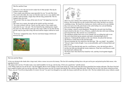 Popular fable story worksheets by CorrineP Teaching Resources Tes – Fables Worksheets