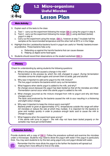 Secondary - Useful Microbes: Teacher Sheets by e-Bug   Teaching ...