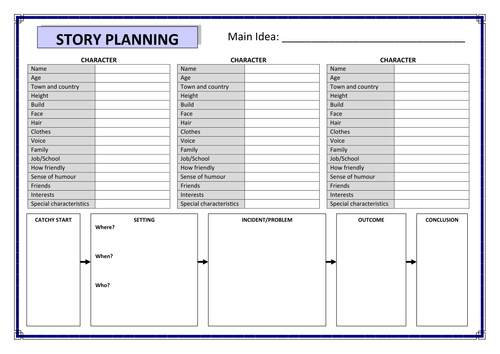 Story planning template by pritchardlucy teaching for Story planner free