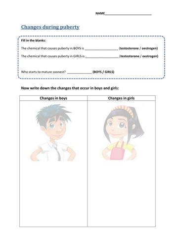 Puberty - Video & Worksheet