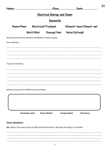 Electrical Energy and Power Worksheets by nftb99 | Teaching Resources