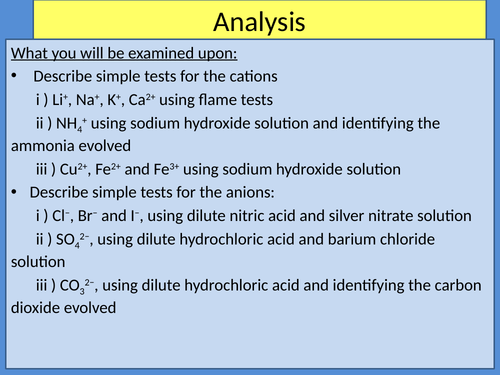 Analysis - Testing For Ions and Gases