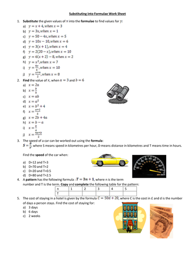 substituting in formulae worksheet by amylob teaching resources tes. Black Bedroom Furniture Sets. Home Design Ideas