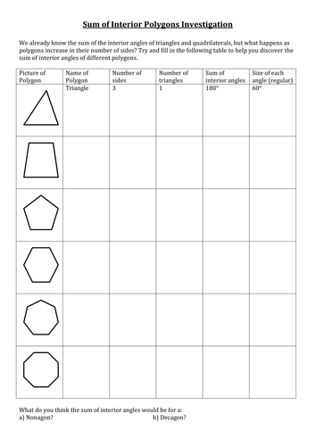 Sum And Interior Angles Worksheet By Amylob Teaching Resources Tes