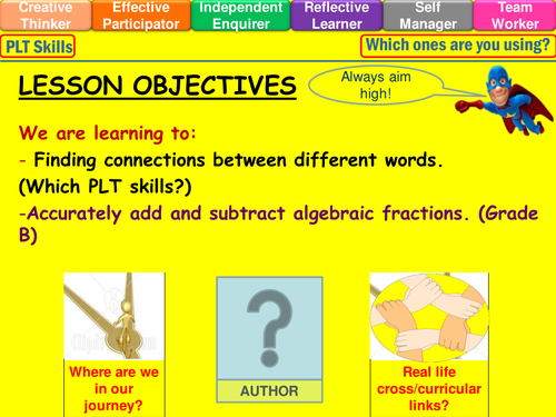 Algebraic fractions adding and subtracting lesson by mistrym03 – Adding and Subtracting Algebraic Fractions Worksheet
