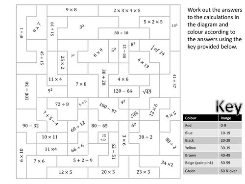 Paint by Simple Arithmetic (mario) - worksheet/hw