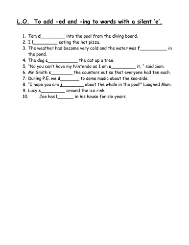 Adding Ed Ing To Words With Silent E By Clara5 Teaching